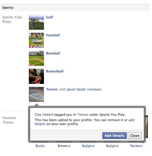 Facebook Sports Tag